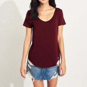 Burgundy Hollister Must-Have Easy T-Shirt (Size S)